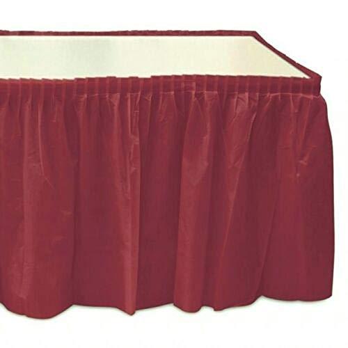 (Self Adhesive Pleated Burgundy Plastic Table Skirts 29