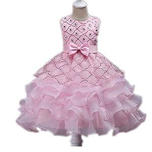 Girls Beaded Sequin Princess Dress Sleeveless Tutu Tulle Birthday Party Dress Cake Skirt