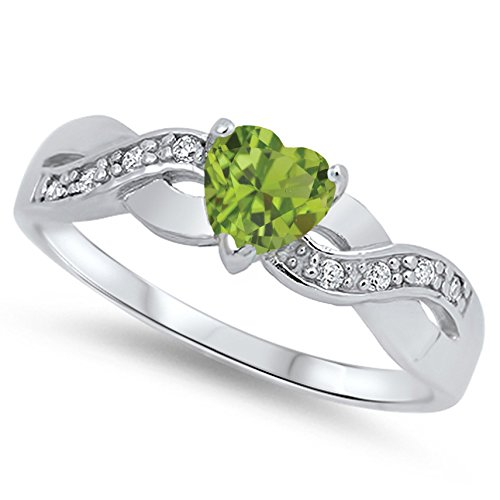 (925 Sterling Silver Faceted Natural Genuine Green Peridot Infinity Knot Heart Promise Ring Size 11)