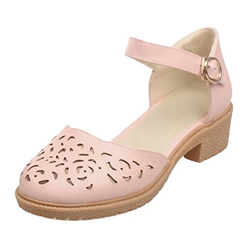 TAOFFEN Women's Summer Ankle Strap D'Orsay Shoes Pink-3 tKKKS