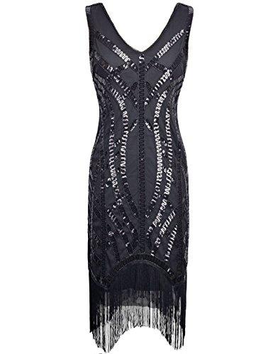 Prett (Black Fringe Flapper Dress)
