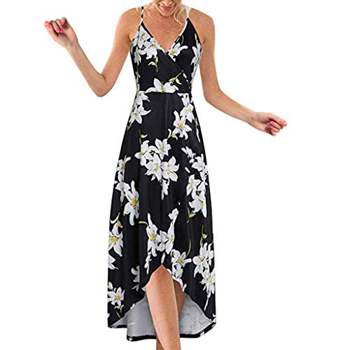 Hopeg Women Summer Strappy Off Shoulder Backless Printing Long Dress, Sling deep V Neck Magnolia Irregular Hem Cut Chic Beach - Magnolia Deep