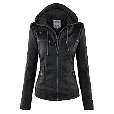 Purjoy Womens Hooded Faux leather Jacket Motorcycle Jacket