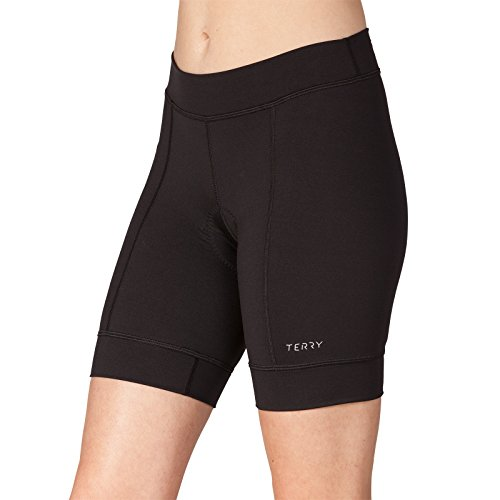 Terry Actif Women's Padded Cycling Shorts - Excellent Wicking Antibacterial Properties Comfort Chamois Women's Cycling Shorts - Black - Small