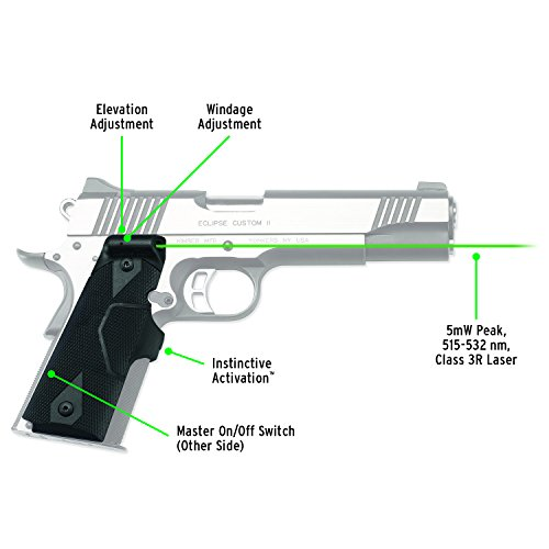 Crimson Trace LG-401G Lasergrips Green Laser Sight Grips for 1911 Full-Size Pistols