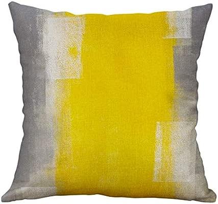 LEEDY Fundas de Cojines 45x45,Costuras Amarillas Funda de ...