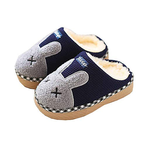 Luobote Kids Girls Warm Indoor Toddler Shoes Home Fur Winter 3 Blue Cute Slippers Boys Bunny rrqUw