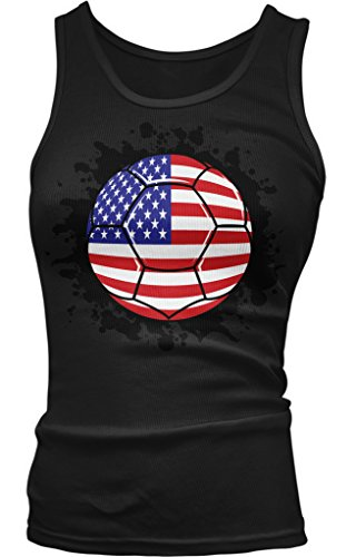 USA Soccer Ball, American Flag, USA Soccer TEAM Pride Juniors Tank Top, Amdesco, Black Large (Pride Top Tank Juniors)