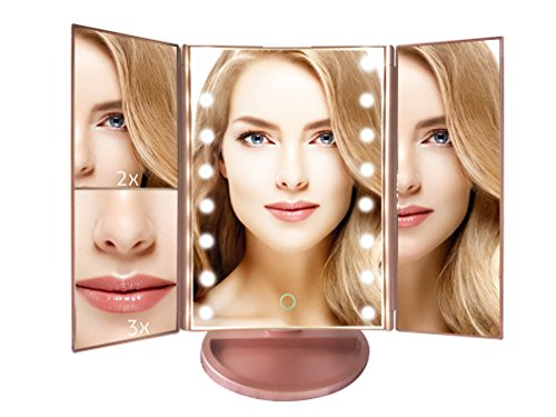 ANGELGEAR MAKEUP MIRROR LED Lights Touch Screen Adjustable | For your CLEAREST Reflection |Trifold with 180 Degrees Rotation 1x2x3 Magnification | Dual Power(Rose (Halloween 2017 Makeup Ideas)
