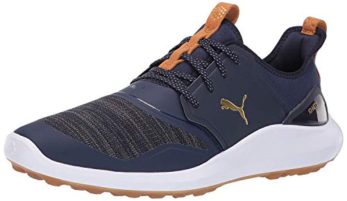 Puma Golf Men's Ignite Nxt Lace Golf Shoe, Peacoat Team Gold-Puma White, 11.5 M US