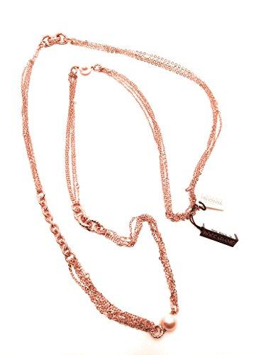 Boccadamo Collier en Bronze Rosé avec perles Swarovski.Longueur cm 114(possibilité de indossarla à deux tours)