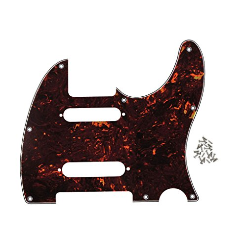 IKN 8 Hole Guitar Tele Pickguard Plate with Screws Fit Fender Nashville Telecaster Pickguard Replacement,4Ply Deep Brown Tortoise Shell