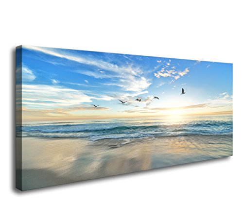 S02162 Wall Art Sunset Sea Water Natural Scenery Painting on Canvas Stretched and Framed Canvas Paintings Ready to Hang for Home Decorations Wall Decor ()
