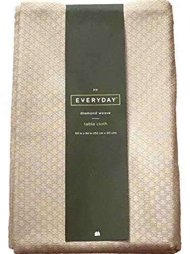 EVERYDAY Khaki Tan Diamond Weave Fabric Tablecloth, 60'' x 84'' Oblong