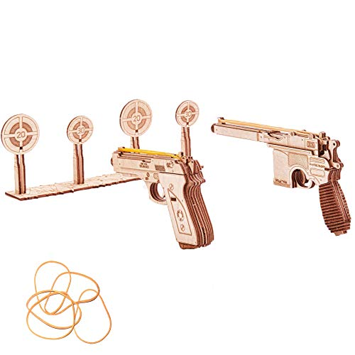 Wood Trick Wooden Toy Guns Set with Targets Shooting Range, Pistol Toy Guns for Kids Set - M9 & Mouser - 3D Wooden Puzzle, Assembly Model, Best DIY Toy - STEM Toys for Boys and Girls