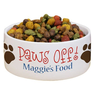 Personalized Paws Off Ceramic Dog Bowl, 5 1/2