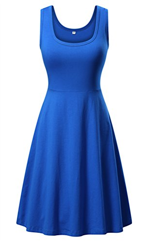 DB MOON Women's Summer Beach A Line Dress Casual Flared Sleeveless Tank Dresses (Medium, Royal - Dress Sleeveless Flare
