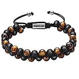murtoo Mens Lava Rock Bracelet, Tiger Eye Bead Bracelet for Men Natural Stone Yoga Essential Oil Bracelets for Gift (7.3'', Black Bead-Tiger Eye Stone 6mm)