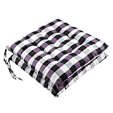 youta Seat Patio Cushion Reversible Set of 2 Chair Cushions Furniture Garden Square Chair Pads for Home Office Outdoor Indoor 15x15 inch Purple Checkered