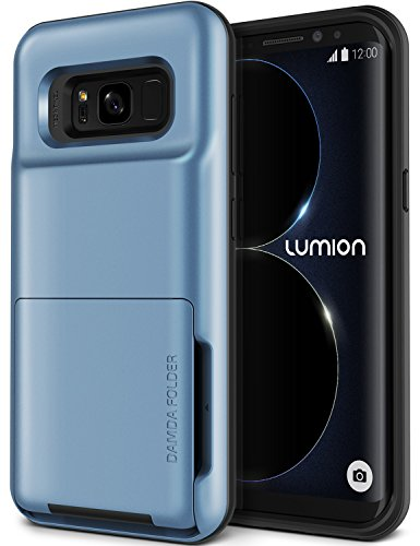 Galaxy S8 Case, [HEAVY DUTY DROP PROTECTION] Hybrid Card Slot Holder Wallet Cover [Shock Absorption Cover] for Samsung Galaxy S8 by Lumion (D.Folder - Blue Cloud)