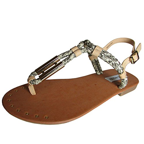 Steve Madden s zapato Braidie playa de la correa de la sandalia Natural Multi