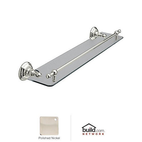 Rohl A1480PN A1480 Country Bath Wall Mounted Glass Vanity Shelf with Front Retaining, 24'', Polished Nickel