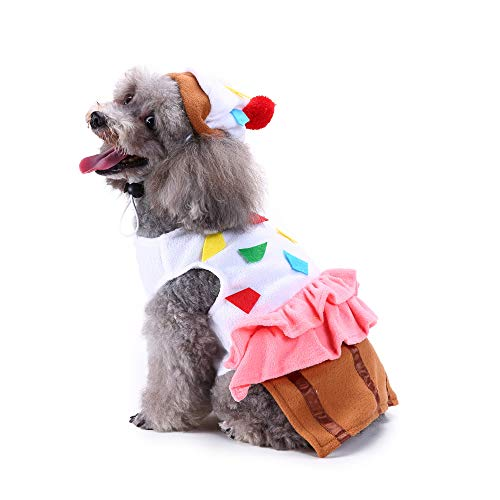 Amakunft Cute Pet Food Costume, Cupcake Pet Suit with Hat for Dog & Cat Halloween Christmas