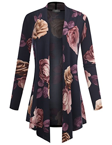 (BIADANI Women's Open Front Lightweight Cardigan Floral Print 61047 Burgundy Small)