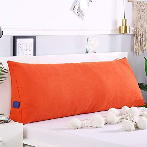 Bed Large Cushion Solid Color Double Single Waist Pillow Sofa Pillow Stereo Reading TV (Color : E, Size : 90x20x50cm)