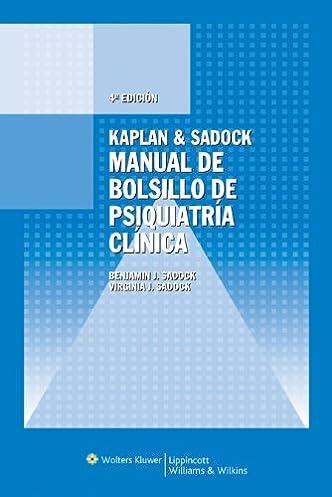 manual de bolsillo de psiquiatria clinica benjamin j sadock rh amazon ca  Sadock and Sadock