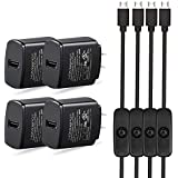 Raspberry Pi 3 3B+ Adapter with On/Off Switch Cable, Power Supply Wall Charger for Raspberry pi 3, Raspberry pi Zero, 2B, 3B, and Zero W (4 Pack)