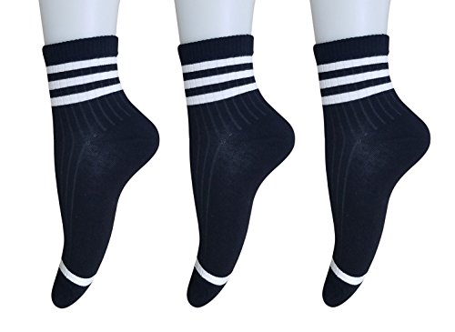 AM Landen Women's 3 pairs Black Ankle Striped Athletic Short Cotton Socks Low Cut Crew Socks from AM Landen