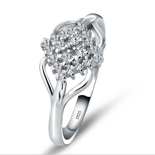 Beydodo Women Ring Wedding Size 7.5 Cubic Zirconia Flower Ring Shape Silver Solitaire Ring Diamond