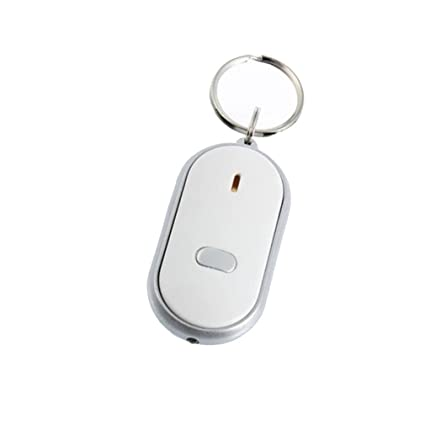 SODIAL(R) Localizador Descubridor para Llave Cartera Blanco LED Control de Sonido Anti-Perdida Llavero Silbato