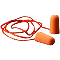 3M 1110 Corded Poly-Urethane Foam, PVC Foam Disposable Ear Plugs, Pack of 1, Orange