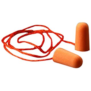 41jONHu469L. SS320 3M 1110 Corded Poly-Urethane Foam, PVC Foam Disposable Ear Plugs, Pack of 1, Orange