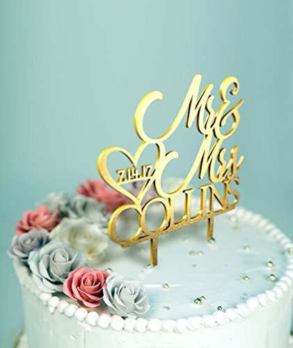 Mr and Mrs Wedding Cake Topper with Customizable Date, Name and Color-D9