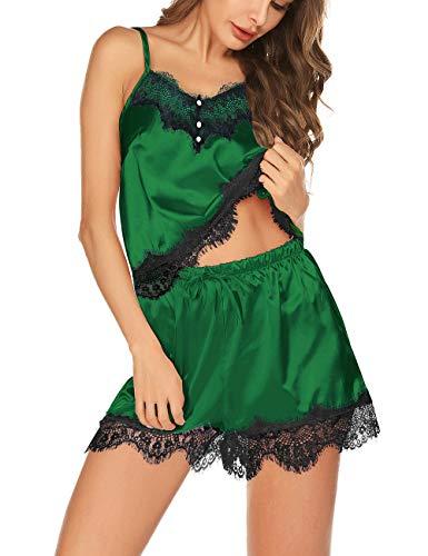 Women's Silk Pajama Sets Short Lingerie Cami V-Neck Sleepwear Lace ()