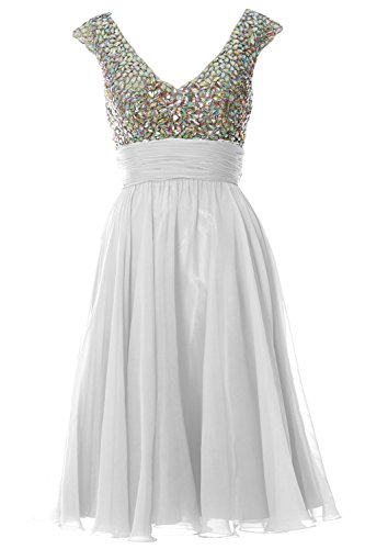 MACLoth Women Cap Sleeve V Neck Crystal Chiffon Short Prom Dress Evening Gown Blanco