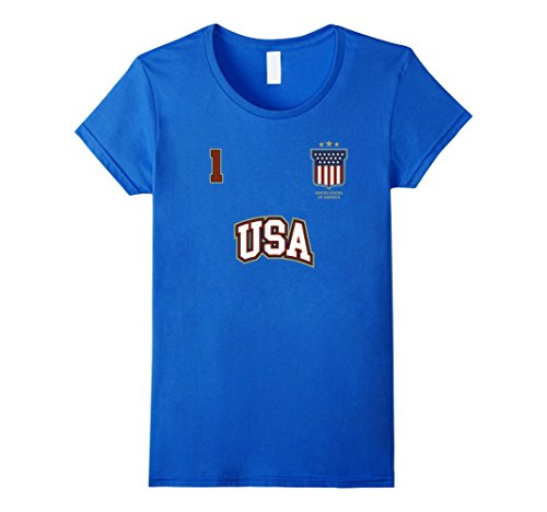 Womens USA Sports Shirt Number 1 BACK American Team United States XL Royal Blue - Football Outfit For Women