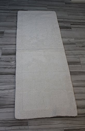 Oversized Bath Rugs - Castle Hill Bella Napoli 100% Cotton Reversible Bath Rug 22X60 White