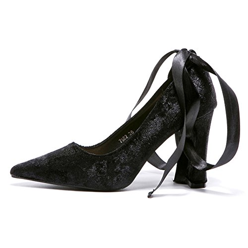 Satin Noir Inconnu Bloc Ruban Mode Talon Suede Élégant Escarpin Fermée Pointue Escarpin Chaussure Femme Talon Z6ZFwrq7