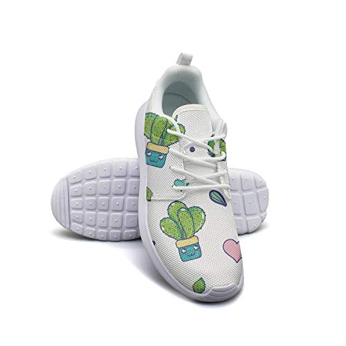 Women's White Walking Running Shoes Green Natural Cactus Plant House Lightweight Sneakers ()