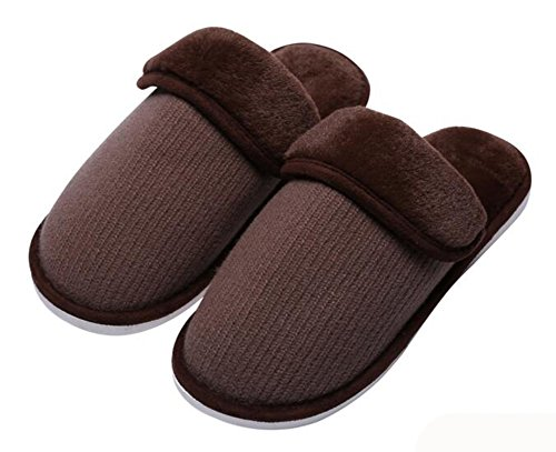 Eagsouni® Damen Herren Hausschuhe Pantoffeln Winter Wärme Baumwolle Pantoffel Stricken Weiche Plüsch Schuhe Home Indoor Slipper Braun