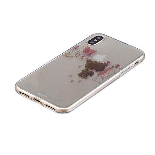 Coque iPhone X Mignon petit ours Premium Gel TPU Souple Silicone Transparent Clair Bumper Protection Housse Arrière Étui Pour Apple iPhone X / iPhone 10 (2017) 5.8 Pouce + Deux cadeau