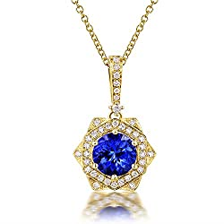 White Yellow Gold Tanzanite Diamond Pendant