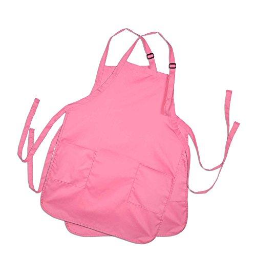 DALIX Apron Commercial Restaurant Home Bib Spun Poly Cotton Kitchen Aprons (2 Pockets) (2, Pink)