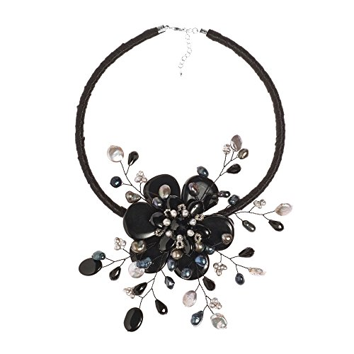 AeraVida Reconstructed Agate & Cultured Freshwater Pearl Star Flower Collar Necklace