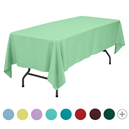 VEEYOO 70 x 120 inch Rectangular Solid Polyester Tablecloth for Wedding Restaurant Party, Mint Green