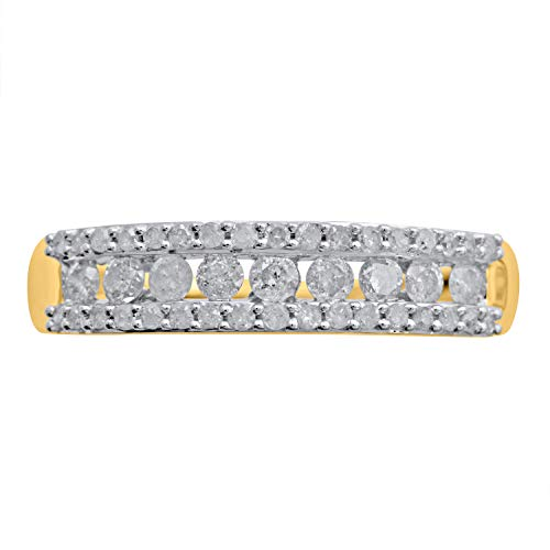 10k Yellow Gold 3-Row Diamond Anniversary Band Ring (0.52 cttw, H-I Color, I2 Clarity)